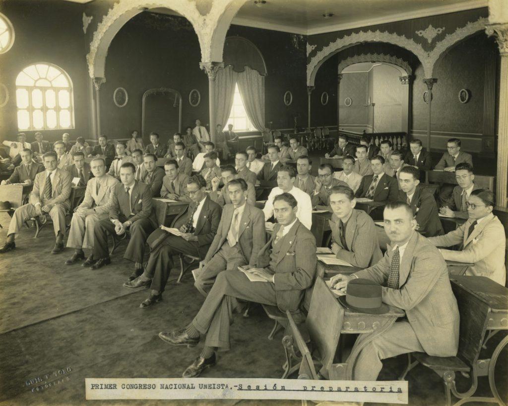 1939. Enero. Reunión preparatoria del primer congreso nacional de la UNE.