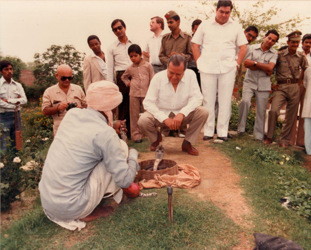1982. Abril. Visita a la India como Presidente de la Unión Interparlamentaria Mundial.