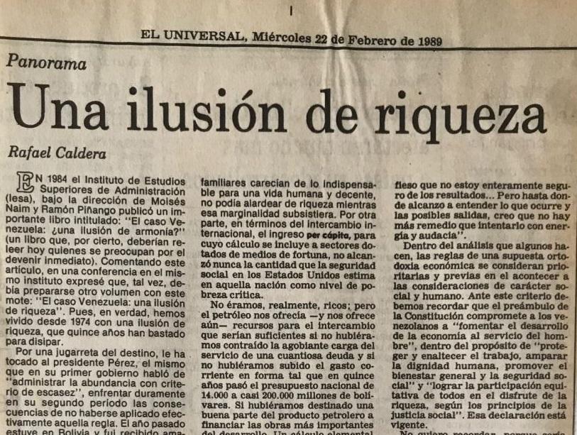 1989. Febrero, 22. ALA / El Universal: Una ilusión de riqueza