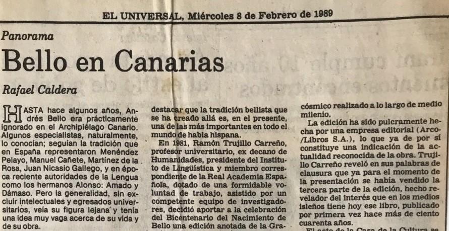 1989. Febrero, 8. ALA / El Universal: Bello en Canarias