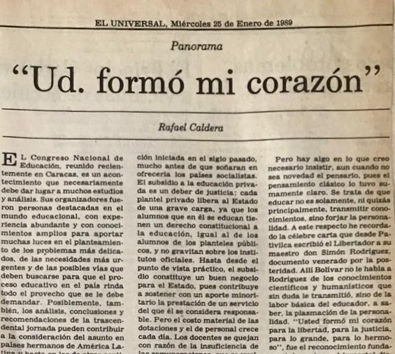 1989. Enero, 25. ALA / El Universal: «Ud. formó mi corazón»