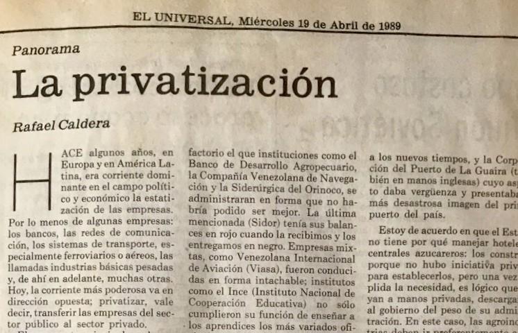 1989. Abril, 19. ALA / El Universal: La privatización