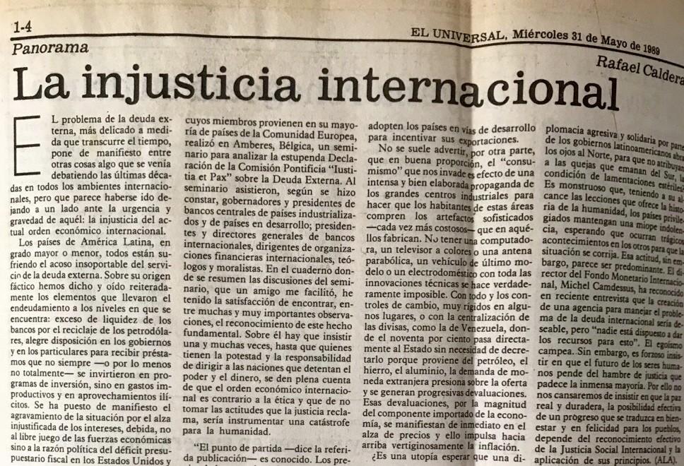 1989. Mayo, 31. ALA / El Universal: La injusticia internacional