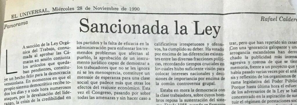 Artículo Rafael Caldera Sancionada la Ley