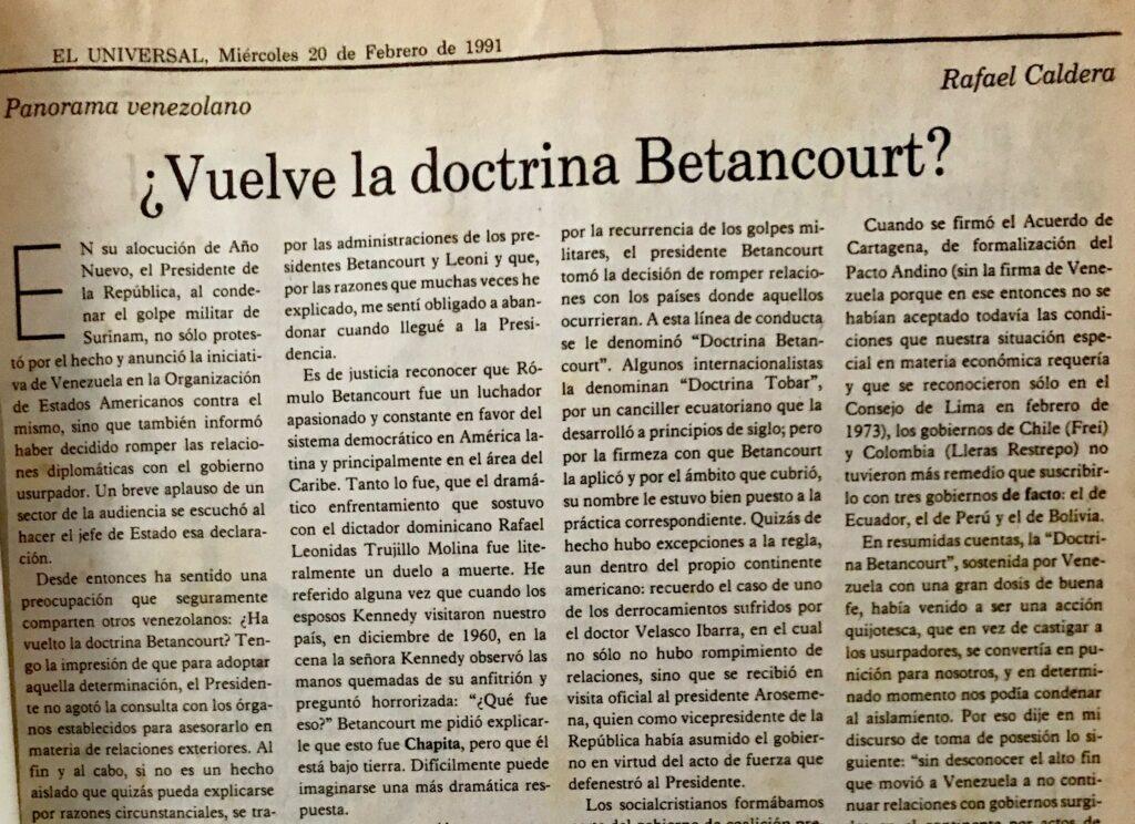Artículo Rafael Caldera sobre Doctrina Betancourt