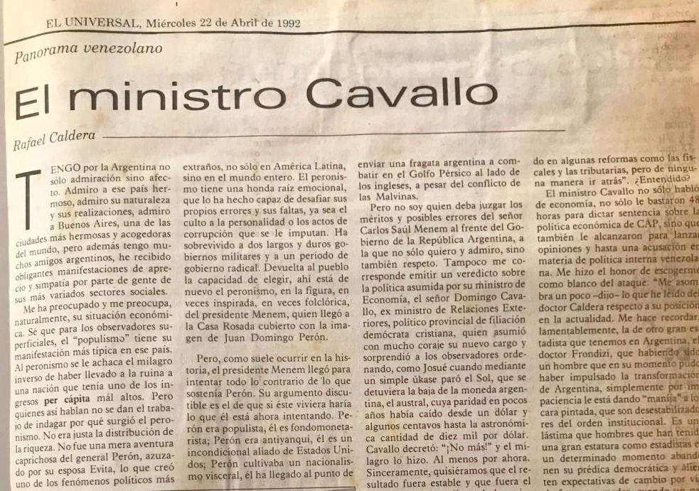 Artículo Caldera sobre Domingo Cavallo