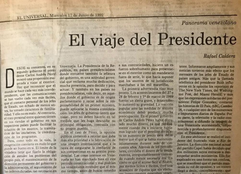 Rafael Caldera - 1992. Junio, 17. ALA El Universal El viaje del presidente