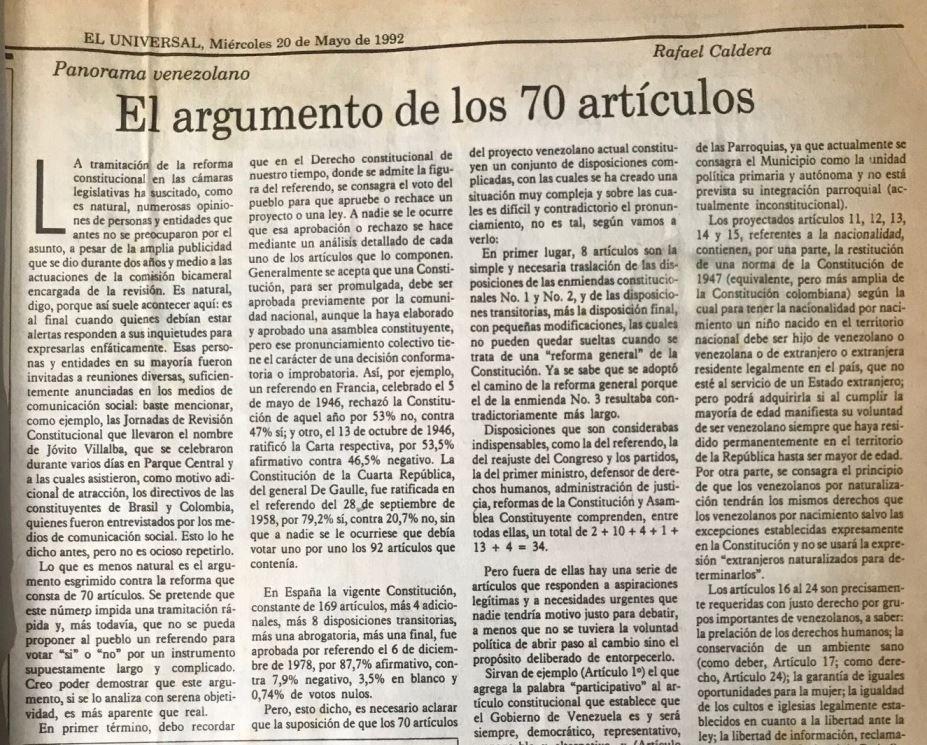 Rafael Caldera - 1992. Mayo, 20. ALA El Universal El argumento de los 70 artículos