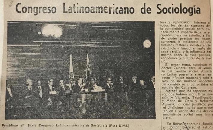 1961. Abril, 11. Rafael Caldera al instalar el VI Congreso Latinoamericano de Sociología